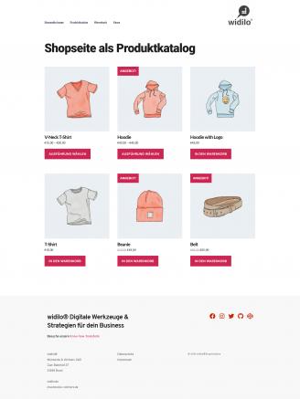 widilo® Produktkatalog Onlineshop